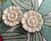 Balinese Flower Carved Bone Earring Pair of Cabochons