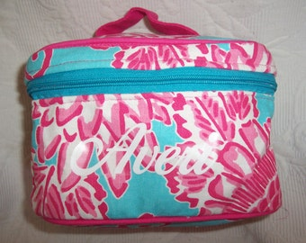 Personalized Aqua & Hot Pink Floral Train Case Cosmetic