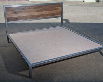 Walnut and steel platform bed frame
