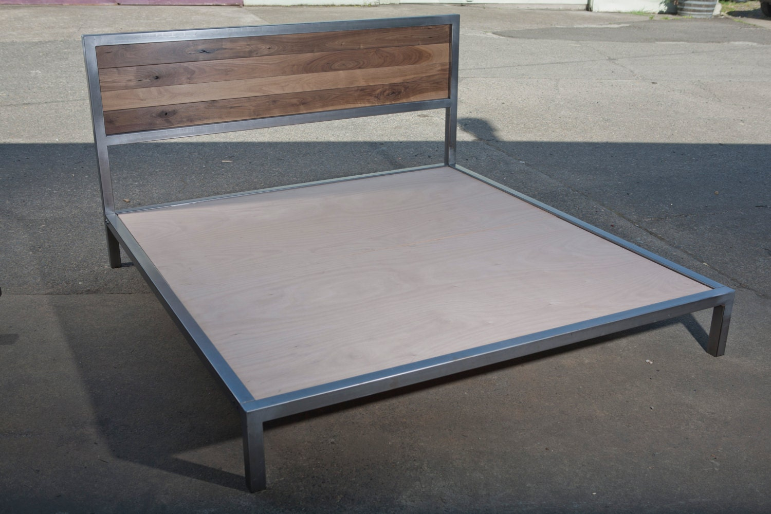 Walnut And Steel Platform Bed Frame By Buschdesign On Etsy