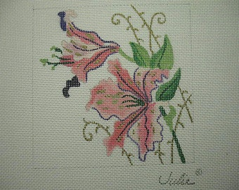 Peach Calla Lily Floral Needlepoiont Canvas