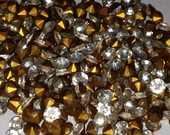100 Vintage New Old Stock Fire Polished Chatons Crystal Rhinestones 16 SS or 4 mm