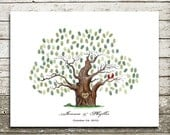Hand drawn Wedding Guestbook Alternative  Print.wedding guest book .wedding tree--  To Be Personalized With Guest's Fingerprints - 17x22
