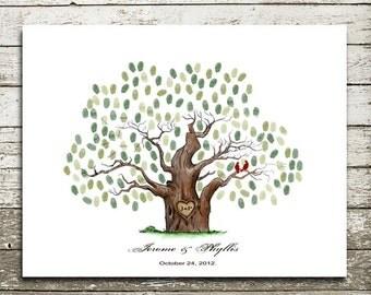 Hand drawn Wedding Guestbook Alternative  Print.wedding guest book .wedding tree--  To Be Personalized With Guest's Fingerprints - 17x22