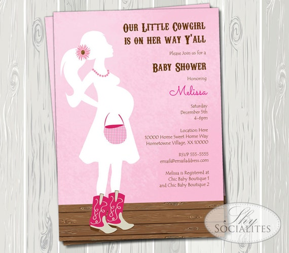 pink cowgirl baby shower invitation cowboy or by shysocialites, Baby shower invitations