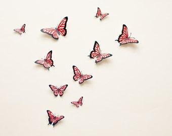 3D wall butterflies: Butterfly wall art, illustrated Oaxacan-style butterflies in cherry red, summer decor
