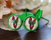 8mm.10mm.12mm.14mm.16mm Colored Enameled brass blank setting Post Earring With 12mm Round Pad  NICKEL FREE (EAR-68-5)