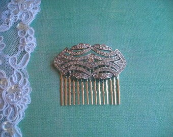 OLIVIA ~ Bridal Art Deco Silver Filigree with Austrian Crystal Hair Comb/Bridal Bouquet Adornment Pin