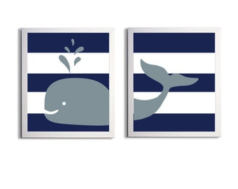 Nursery Whale Kids Room Art Nautical Beach Ocean Sea Prep Stripes Navy Grey more colors available set of 2