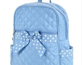 "Personalized 15"" Girls Quilted Backpack-BLUE and White"