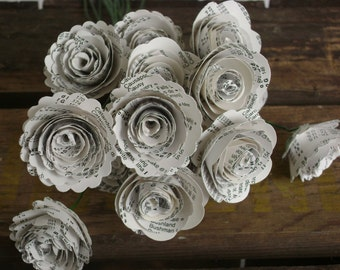 "Mini 1"" spiral roses from vintage atlas book index pages 12 paper flowers on stems"