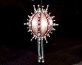 Vintage Christmas Ornament Cream White Satin Ball Pearls Silver Beads Red Velvet & Silver Trim 1970's Handmade