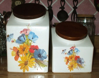 Hyalyn Pottery Ceramic Canisters Pressed Flower Design Wood Lid Set of Two North Carolina Two Sets Available