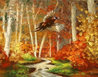 Pheasant wildlife bird autumn landscape 24x36 oils on canvas painting by RUSTY RUST / P-55
