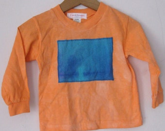 Orange 24 Month Hand Dyed Cotton T-Shirt,tie dyed patch