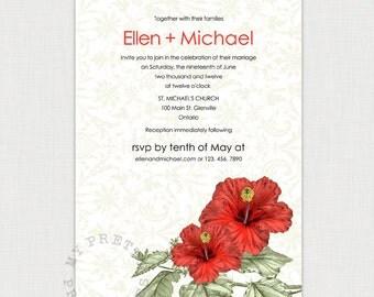 Aloha - Hibiscus Wedding Invitation - DIY printable invitation
