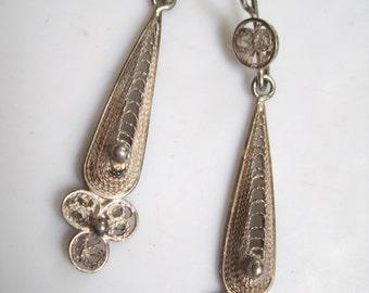 Vintage Middle Eastern Earrings - Sterling Silver Filigree Dangle Earrings - Ethnic Jewelry
