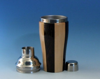 Maple & Wenge Wooden Cocktail or Juice Shaker with Stainless Steel Insert, Cocktail Shaker Lid with Strainer, and Cap