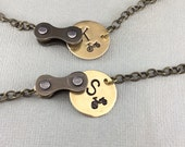 Personalized bicycle chain & brass necklace bike jewelry, cycling necklace