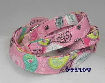 Dog Collar Fun Pink FeatherTurquoise Patterns Adjustable Dog Collars D Ring Choose Size Accessories Pet Pets Lines Stripes Stripe Collars