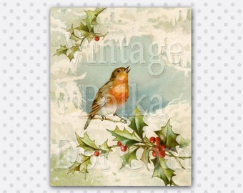 Vintage Clip Art Christmas Bird Singing Holly Graphics Snow Clipart Antique Printable Digital Instant Download Scrapbooking