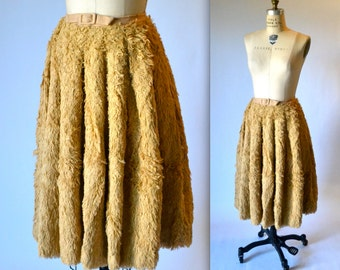 50s Vintage Faux Fur Skirt Size Small In Tan Camel For Wood Ward and Lothrop by Geny Spiepmann of Zurich Switzerland