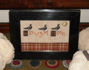 Primitive Harvest Moon Framed Sampler, Rustic Autumn Cross Stitch, Threadwork Primitives Design