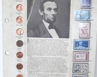 Lincoln Jubilee Cent Coin and US Stamp Set in Historic Placard