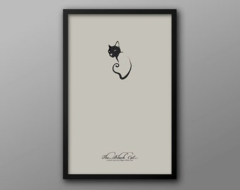The Black Cat, Minimalist Literature Poster // Edgar Allan Poe and Cat Illustration
