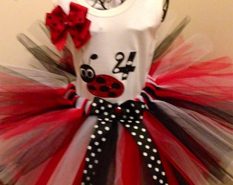 Fluffy Red Ladybug  Tutu Set  embleshed with red and black ribbon