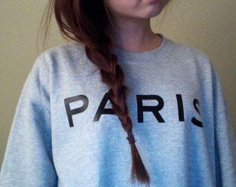 Lovely Soft Grey Paris Sweatshirt All Sizes