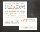 Wedding Invitation & Response Card - Personalized DIY PRINTABLE Digital Designs - Fall Chic