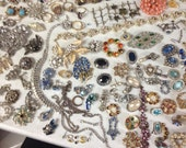 Lot of jewelry parts for repurpose mostly rhinestone