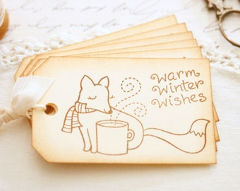 Fox Gift Tags Handmade Warm Winter Wishes Christmas Gift Tags What Does The Fox Say Hot Chocolate Gifts