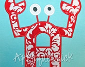 Crab Alphabet Applique Design