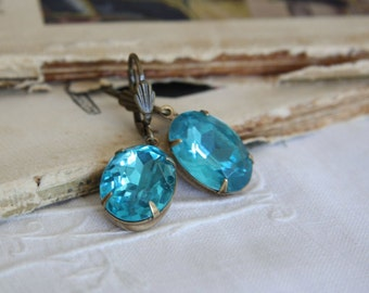 Large Vintage Blue Glass Jewel Earrings. Estate Style Earrings. Old Hollywood .