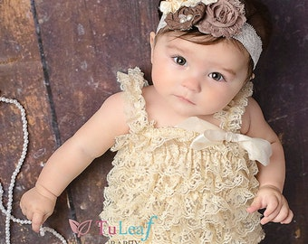 SALE Lace Pettiromper with Taupe, Beige, Ivory Brown Headband (Newborn, Toddler, Child) Rustic antique