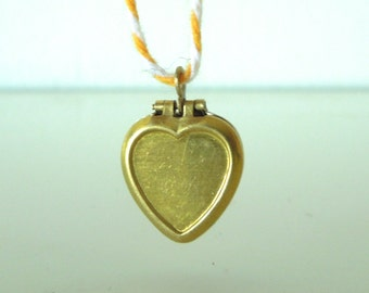 Small Heart Locket, Vintage brass heart pendant, Valentines Day, 3 available