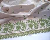 FOR SUSAN Nearly 3 yards Vintage Border Print Rayon Linen Fabric with Embroidered Trim Ecru and Avocado Green