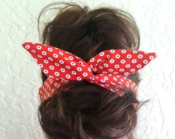 Dolly Bow White Polka Dots on Red Wire Flexible Headband for Teens Women Girls 50s Rosie the Riveter Hair Accessory