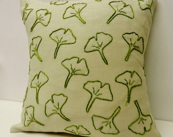 Ginko Leaf Hand Embroidered Pillow Cover. 10 Inch Pillow Cover. Sage Botanical. Asian Accent Pillows. Decorative Cushions. Nature Decor.