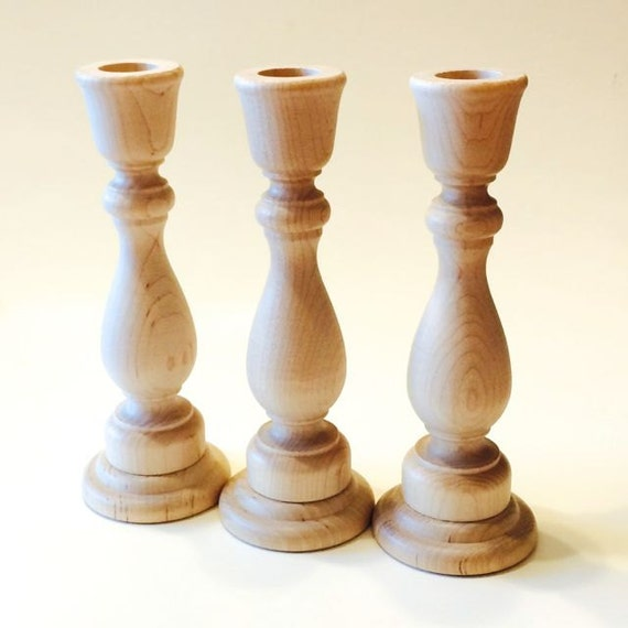2 Wooden Candle Holder Candlestick Unfinished 2 Candle Holders