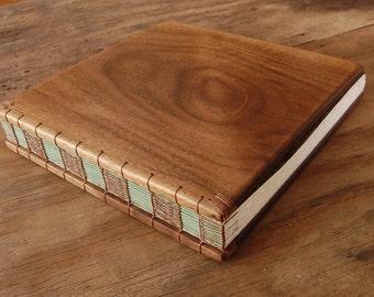 rustic wood wedding guest book or journal - black walnut- cabin guest book - moss green brown fall wedding - winter wedding - made to order