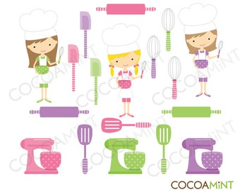 Little Girl Chefs Clip Art
