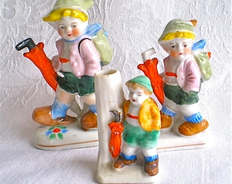 Boy Figurines Umbrellas Miniature Collectibles Hand Painted Japanese 1950s Set of 3 Instant Collection