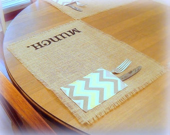 Burlap Placemats / Chevron Utencil Pocket
