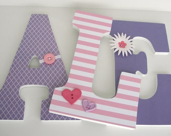 Baby Nursery Wall Letters - Pink and Purple - Custom Wood Letter Set