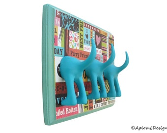 Dog Tail Leash Holder - Triple Bahama Blue Patchwork Paws - Personalize with Optional Letter Tiles