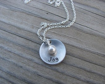 """Inspirational Word Necklace- brushed silver domed disc with """"Joy"""" and an accent bead in your choice of colors- Hand-Stamped Jewelry"""
