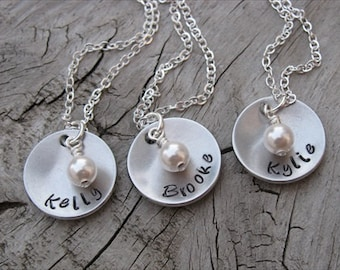 Set of 3 Name Necklaces-brushed silver domed discs with names of your choice and an accent bead of choice- Personalized Gift